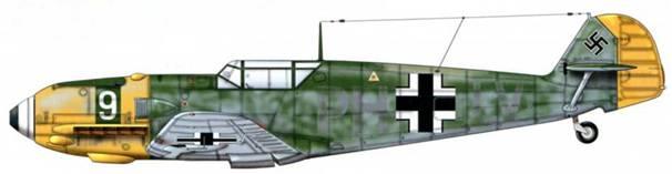 Bf 109Е-1 из 7./jg 27, Битва за Британию, 1940 г. Пилот Oberleutnant (старший лейтенант) Карл Фишер. Верхние поверхности: RLM 71 /02. Камуфляж RLM 71 Нижние поверхности: RLM 65 Капот двигателя: RLM 04