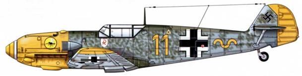 Bf 109Е-1 из 9./JG 2, Битва за Британию, лето 1940 г. Верхние поверхности: RLM 71/02. Камуфляж RLM 71 Нижние поверхности: RLM 65. Капот двигателя и кок винта: RLM 04