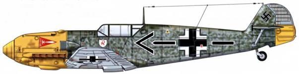 Bf 109Е-4 из 3./jg 2, Битва за Британию, лето 1940 г. Пилот Major (майор) Хельмут Вик, командир группы I./JG 2. Погиб в воздушном бою 28 ноября 1940 г., имея на своем счету 56 побед. Его сбил Spitfire из 609-й эскадрильи Королевских ВВС (пилот Джон Дандас). Верхние поверхности: RLM 70 и 71. Нос и руль направления: RLM 04. Нижние поверхности: RLM 65.