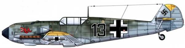 Bf 109Е-4 из 2./JG 3, Битва за Британию, август 1940 г. Пилот Oberleutnant (старший лейтенант) Хельмут Тидманн. Верхние поверхности: RLM 71. Нижние поверхности: RLM 65.