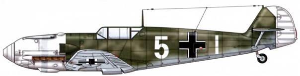 Bf 109Е-4 из 7./jg 53, Битва за Британию, сентябрь 1940 г. Пилот Unteroffizier (младший сержант) Ханс-Георг Шульте. Камуфляж: RLM 71 /02. Нижние поверхности: RLM 65.