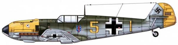 Bf 109Е-4 из 9./JG 3, Битва за Британию, октябрь 1940 г. Пилот Oberleutnant (старший лейтенант) Эгон Троха. Верхние поверхности: RLM 71. Нос и руль направления: RLM 04. Нижние поверхности: RLM 65.