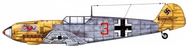 Bf 109Е-4 из 2./jg 3, Битва за Британию, конец 1940 г. Верхние поверхности: RLM 74/75. Нижние поверхности: RLM 76. Капот двигателя и руль направления: RLM 04. Заостренный кок винта как на Bf 109Е-7.
