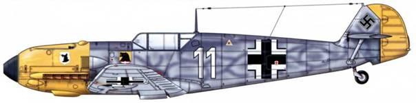 Bf 109E-4 из III./JG77 / 1941 г. Верхние поверхности: RLM 74/75. Капот двигателя и руль направления: RLM 04. Нижние поверхности: RLM 76.
