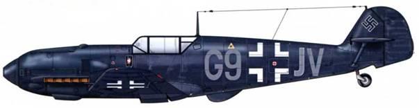 Bf 109Е-4 III./ng 1 ночной истребительной авиации, 1941 г. Самолет целиком окрашен в черный цвет RLM 66. Буквы кода – серые.