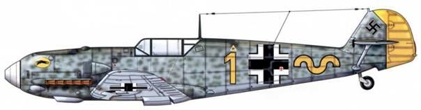 Bf 109E-4 из jg52, 1941 г. Верхние поверхности: RLM 71 /02. Пятна на фюзеляже тех же цветов. Нижние поверхности: RLM 65. Руль направления: RLM 04.