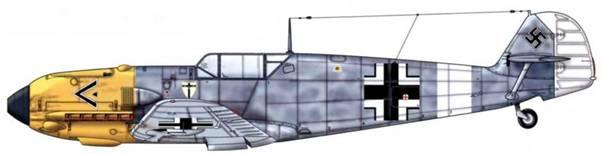 Bf 109Е-4 из III./JG 27, Сицилия, весна 1941 г. Верхние поверхности: RLM 7А/75. Нижние поверхности: RLM 76. Капот двигателя: RLM 04.