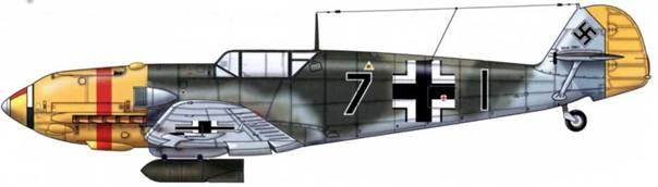 Bf 109E-4/B из 8./JG 53, Битва за Британию, октябрь 1940 г. Пилот Oberleutnant (старший лейтенант) Вальтер Филь. Верхние поверхности: RLM 71 /02. Нижние поверхности: RLM 65. Боковые поверхности: RLM 71.