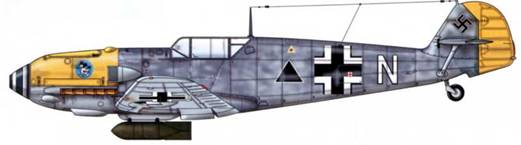 Bf 109Е-4/В из 4./LG 2, Битва за Британию, сентябрь 1940 г. Пилот Oberfeldwebel (старший сержант) Йозеф Хармелинг. Верхние поверхности: RLM 74/75. Нижние поверхности: RLM 76. капот двигателя: RLM 04.