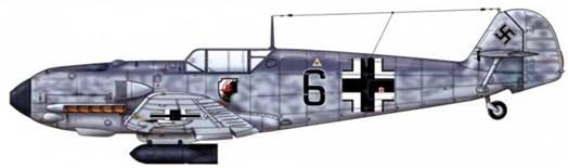 Bf 109Е-4/В из III./jg 1, Битва за Британию, ноябрь 1940 г. Верхние поверхности: RLM 74/75. Нижние поверхности: RLM 76.