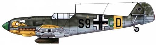 Bf 109Е-4/В из zg 1 (zerstdrergeschwader), Восточный фронт, 1941 г. Верхние поверхности: RLM 71. Нижние поверхности: RLM 65. Нижняя часть капота двигателя RLM 04.