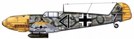 Bf 109E-4/B из JG 54, Русский фронт, 1942 г. Пилот Leutnant (лейтенант) Штейндль. Верхние поверхности: RLM 71 /02. Нижние поверхности: RLM 65. Капот двигателя и руль направления: RLM 04.