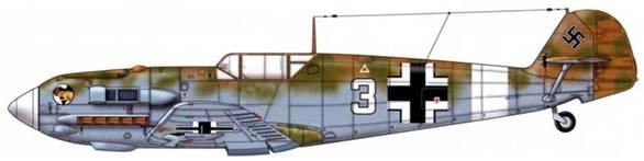 Bf 109Е-4/Trop из 1./jg27, Северная Африка, 1941 г. Верхние поверхности: RLM 79/80. Нижние поверхности: RLM 78. Эта эскадра с момента прибытия во французскую Северную Африку использовала Bf 109Е-4/Trop и Е-7/Trop. Различить эти две версии довольно трудно, поскольку коки винтов Е-7 устанавливались также на Е-4, а на первых Е-7 был старый кок с отверстием для пушки MG/FF.