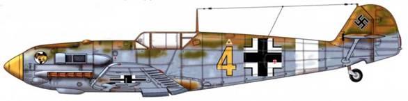 Bf 109Е-4/Trop из 1./jg27, Северная Африка, 1941 г. Верхние поверхности: RLM 79/80. Нижние поверхности: RLM 78.