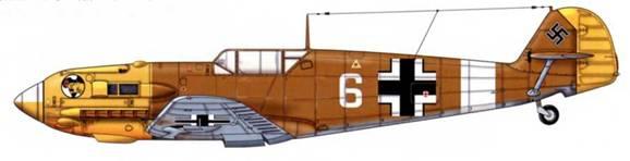 Bf 109Е-4/Trop из 1./JG 27 (или 3./JG 27), Северная Африка, 1942 г. Верхние поверхности: RLM 79. Нижние поверхности: RLM 78. Капот двигателя: RLM 04.