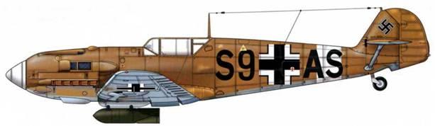 Bf 109Е-4/В Trop из iii./skg 210, Ливия, конец 1942 г. Верхние поверхности: RLM 79. Нижние поверхности: RLM 78.