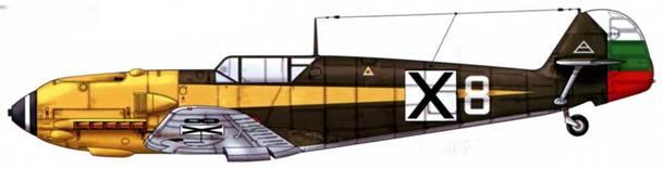 Bf 109Е-4 болгарских ВВС. Верхние поверхности: RLM 70/71. Нижние поверхности: RLM 65.