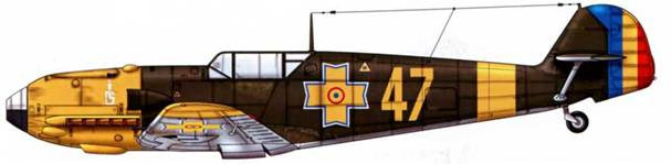 Bf 109Е-4 неизвестного подразделения румынских ВВС, русский фронт, 1942 г.
