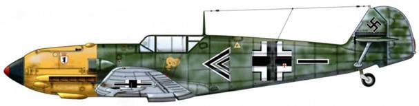 Bf 109Е-7 из II./JG27, Балканы, апрель 1941 г. Пилот Вольфганг Липперт, командир группы. Верхние и боковые поверхности: RLM 71/02. Нижние поверхности: RLM 65.