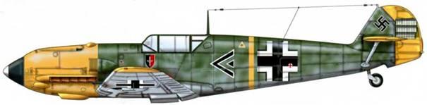 Bf 109Е-7 из I./LG 2, Греция, 1941 г. Пилот Hauptmann (капитан) Герберт Илефельд. Самолет еще носил эмблему JG 52, когда его перевели в I./LG 2 во время греческой кампании. Верхние поверхности: RLM 70/71. Hoc: RLM 04. Нижние поверхности: RLM 65.