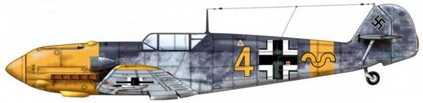 Bf 109E-7/N из 9./jg 52, русский фронт, лето 1941 г. Пилот Oberfeldwebel (старший сержант) Герман Граф. Верхние поверхности: RLM 74/75. Нижние поверхности: RLM 76.