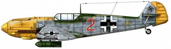 Bf 109Е-7/В из 3./LG 2, Битва за Британию, лето 1940 г. Французские источники идентифицируют эту машину как Е-7, хотя у нее кок винта как у Bf 109Е-4. Верхние поверхности: RLM 70/02. Нижние поверхности: RLM 65.