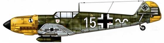 Bf 109E-7/B из II./JG 2, Сен-Поль, Франция, лето 1941 г. Пилот Oberleutnant (старший лейтенант) Вернер Махольд. Верхние поверхности: RLM 71/02. Нижние поверхности: RLM 65.