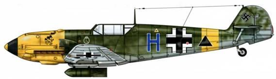 Bf 109Е-7/В из II./SG 1, Сталинград, зима 1942-1943 гг. На борту самолета изображен нагрудный штурмовой пехотный знак (Sturmabzeichen). Верхние поверхности: RLM 70 и 71. Нижние поверхности: RLM 65.