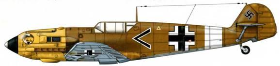Bf 109E-7/Trop из I./JG 27, Северная Африка, 1941 г. Пилот Oberleutnant (старший лейтенант) Людвиг Францискет, Gruppeadjutant (адъютант группы) I./JG 27. Верхние поверхности: RLM 79. Нижние поверхности: RLM 78. Капот двигателя RLM 04.