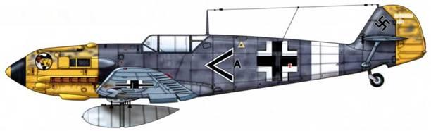 Bf 109Е-7/Trop из I./JG 27, Ливия, апрель 1941 г. Пилот Oberleutnant (старший лейтенант) Людвиг Францискет, Cruppeadjudant (адъютант группы) I./JG 27. Камуфляж: RLM 74/75. Нижние поверхности: RLM 76.