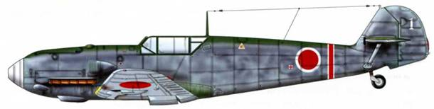 Bf 109Е-7, проданный японцам в 1941 г. Три самолета этого типа были переданы Японии (до ее вступления в войну в декабре 1941 г.) для испытаний и оценки.