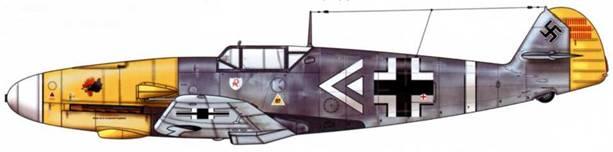 Bf 109F-2 из III./JG 2, Сен-Поль, Франция, лето 1941 г. Пилот Hauptmann (капитан) Ганс «Асси» Хан командир группы. Верхние поверхности: RLM 74/75. Нижние поверхности: RLM 76. Капот двигателя: RLM 04.