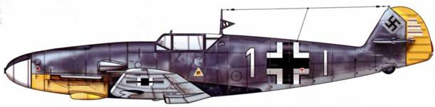 Bf 109F-2 из 7./jg 2, Сен-Поль, Франция, лето 1941 г. Пилот Oberleutnant (старший лейтенант) Эгон Майер, командир эскадрильи. Верхние поверхности: RLM 74/75. Нижние поверхности: RLM 76. Нижняя часть капота двигателя: RLM 04.