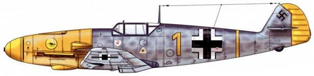 Bf 109F-2 из 9./JG2, Кан, Франция, лето 1941. Пилот Oberleutnant (старший лейтенант) Рёдерс. Верхние поверхности: RLM 74/75. Нижние поверхности: RLM 76. Капот двигателя: RLM 04.