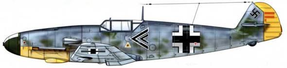 Bf 109F-2 из l./JG 26, Сент-Омер, Франция, июль 1941 г. Пилот Hauptmann (капитан) Рольф Петер Пингель. На этом самолете Пингель был сбит у побережья Дувра и попал в плен 10 июля 1941 г. Верхние поверхности: RLM 74/75. Камуфляж: RLM 71. Нижние поверхности: RLM 76.