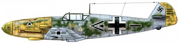 Bf 109F-2 из II./JG 53, русский фронт, июль 1941 г. Пилот Hauptmann (капитан) Хайнц Бретнюц, командир группы. Верхние поверхности: RLM 74/75. На боковые поверхности фюзеляжа от капота до руля направления нанесены пятна RLM 71. Нижние поверхности: RLM 76. Капот двигателя: RLM 04.