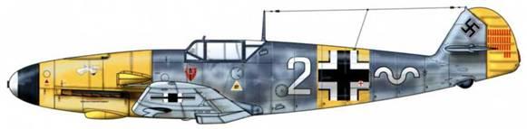 Bf 109F-2 из 7./JG 54, русский фронт, октябрь 1941 г. Пилот Leutnant (лейтенант) Макс-Хельмут Остерманн. Верхние поверхности: RLM 74/75. Нижние поверхности: RLM 76. Капот двигателя: RLM 04.