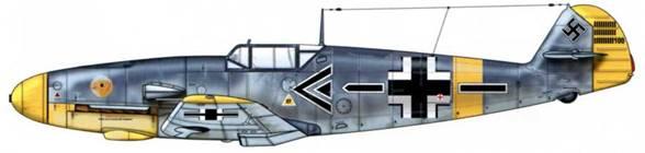 Bf 109F-2 из Stab/JG 3, русский фронт, октябрь 1941 г. Пилот Oberstleutnant (подполковник) Гюнтер фон Лютцов. Верхние поверхности: RLM 7А/75. Нижние поверхности: RLM 76.