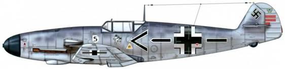 Bf 109F-2/Zn 3 JG26. Пилот Oberst (полковник) Адольф Галланд, командир эскадры JG 26. Этот самолет был нестандартно вооружен двумя пушками MG/FF в крыльях и двумя 1 3,2-мм MG 1 31 пулеметами над двигателем. Верхние поверхности: RLM 74/75. Нижние поверхности: RLM 76.