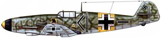 Bf 109F-2 из ll./JG 54, русский фронт, апрель 1942 г. На этом самолете летал Gescnwaderadjutant (адъютант эскадры). Верхние поверхности: RLM 70/02. Нижние поверхности: RLM 65.