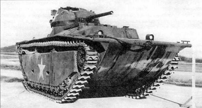Опытный плавающий танк LVT(A)-1 с башней М24