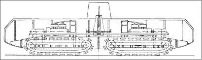 Разрез «Сухопутного корабля Педрэйл» согласно проекту Б. Диплока и М. Суэттера (март 1915г.). Видна попытка использования двух стандартных тракторных шасси вместо разработки новой ходовой части. Для поворота машины ее корпус «переламывался» посередине.