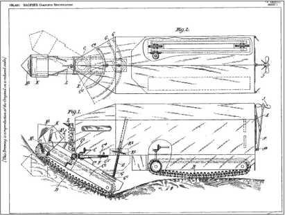 Проект вездеходной машины Р. Мак Фи, предложенный в 1916г., запатентован в 1919г.