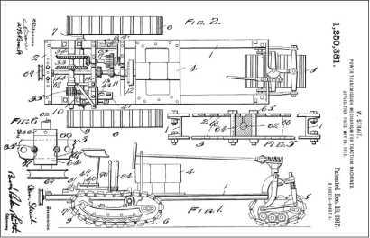Трехгусеничное шасси трактора «Киллен-Страйт» (рисунок из американского патента У. Страйта) послужило основой для первого макета гусеничной бронемашины.
