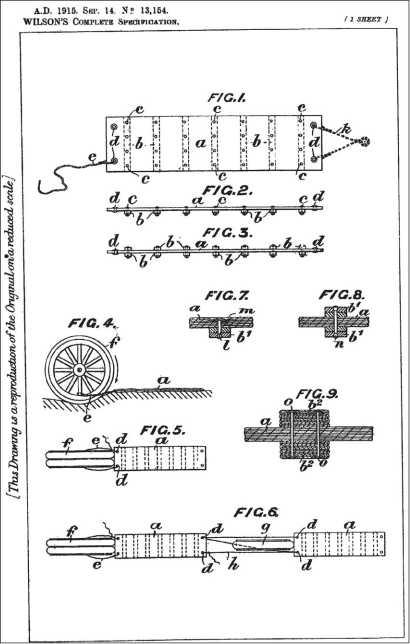 Британский патент У. Вильсона от 1915г. на ленту, цепляемую к колесу и призванную устранить пробуксовывание на слабом грунте.