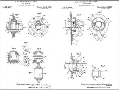 Патент Ю.Г. Т. Д'Энкура и Ф. Скинса на шаровую и карданную броневую установку вооружения в танке (заявка подана в конце 1916г., британский патент выдан в 1918г., американский — в 1922г.).