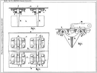 Патент У. Триттона от 1919г. (заявка подана в 1916г.) на съемные «шпоры» для увеличения проходимости и защиты шарниров гусеничного хода на слабых грунтах.