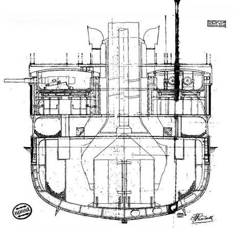 """Броненосный крейсер """"Адмирал Нахимов"""", (Сечение корпуса на мидель-шпангоуте)"""