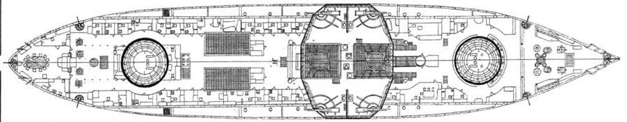 """Эскадренный броненосец """"Двенадцать Апостолов"""" (Наружный вид с указанием размещения плит бортовой брони, продольный разрез и план верхней палубы)"""