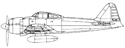 A6M3 Model 32 самолет без антенны, под фюзеляжем деревянный топливный бак на 320 л